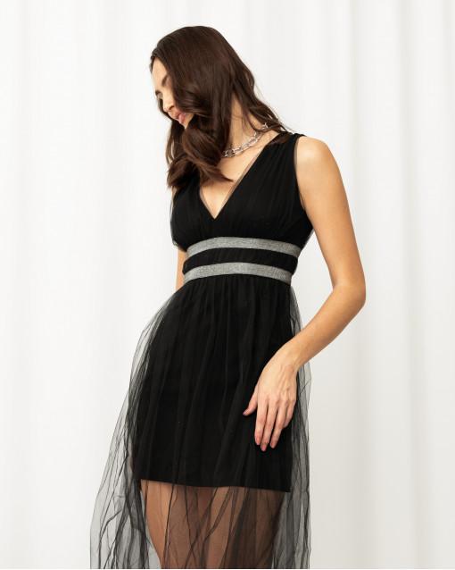 Платье-мини с юбкой из сетки и серебряной нитью на линии талии