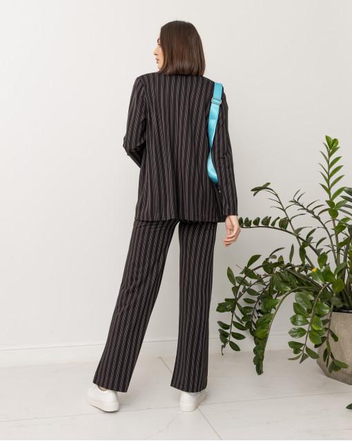 Костюм трикотажный пижамного кроя в полоску