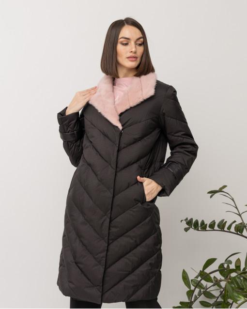 Пальто утепленное с воротом из норки