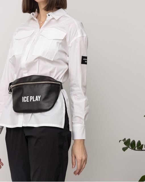 Блуза рубашечного кроя с нашивкой на плече и с поясом