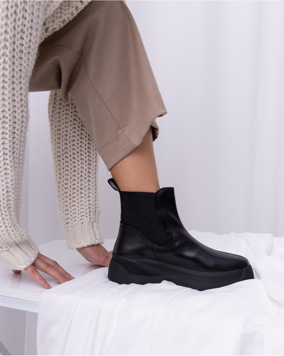 Ботинки демисезоные со вставками-резинками из текстиля