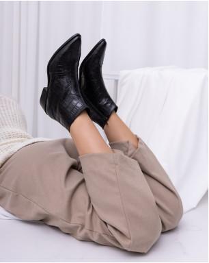 Полуботинки демисезонные из натуральной кожи с острым носом на каблуке
