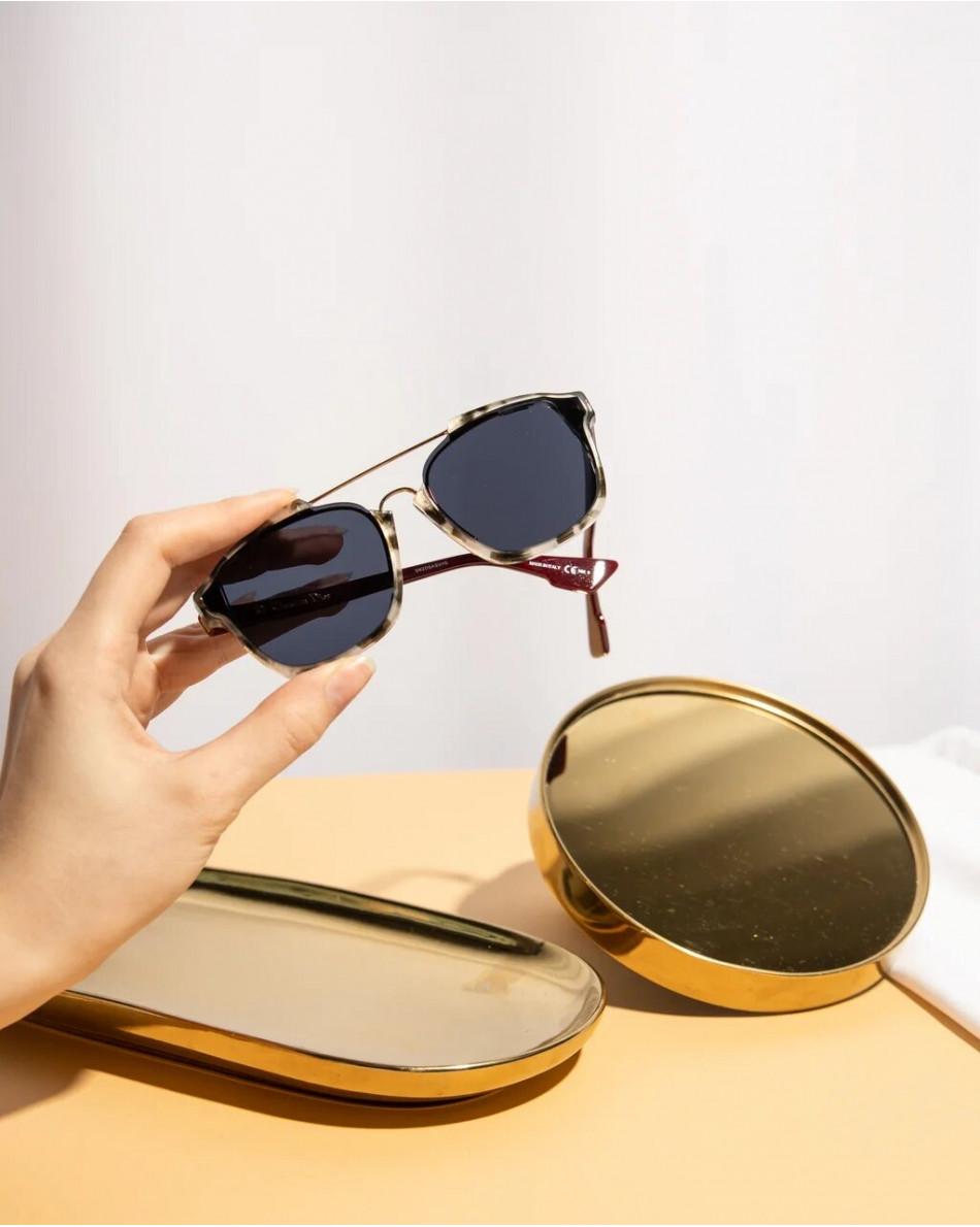 Очки солнцезащитные в оправе винного цвета и анимал