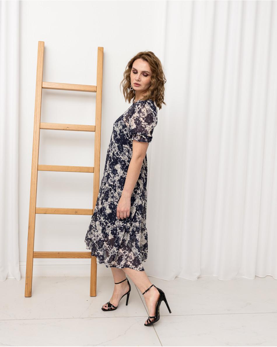 Платье-миди с воланами свободного кроя