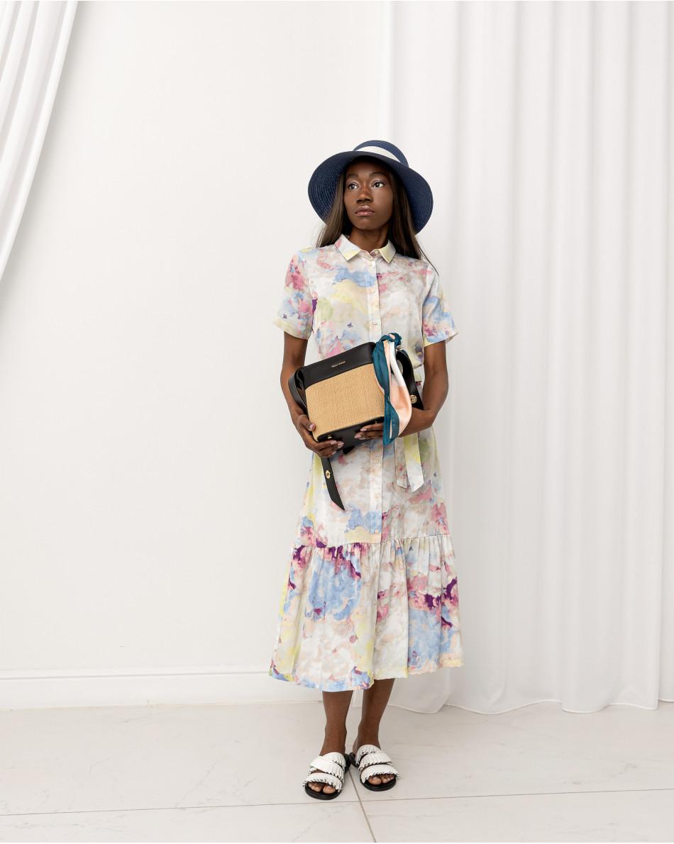 Платье-миди с воротником рубашечного кроя, поясом и воланом снизу