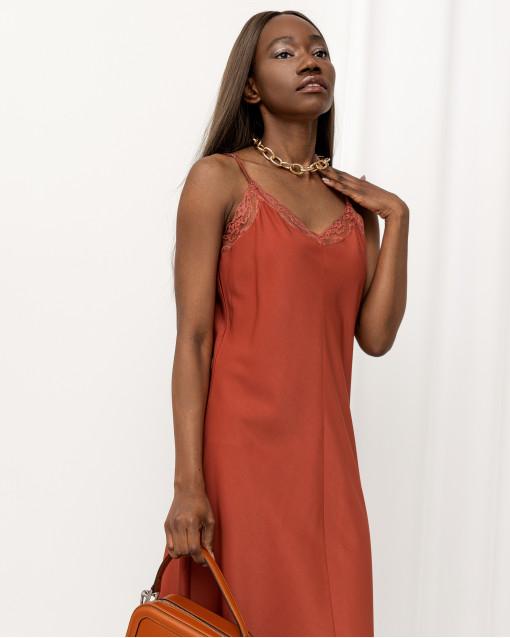 Платье-комбинация с кружевом