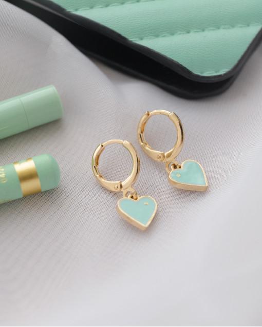 Серьги с сердечками с эмалью бирюзового цвета, швенза итальянский замок латунь с позолотой, длина из