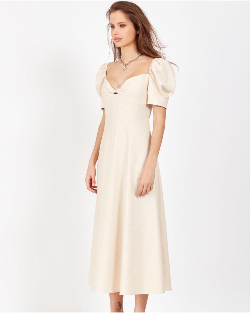 Платье-миди с рукавом со сборкой и выделенной линией декольте