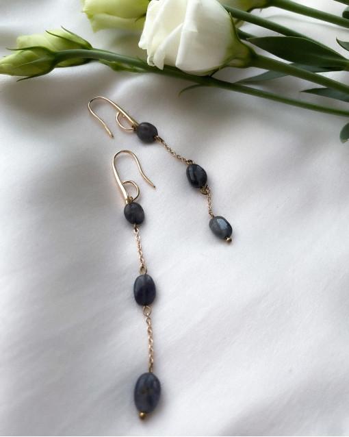 Серьги с водяным сапфиром синего цвета, швенза петля латунь с позолотой, длина изделия 8 см