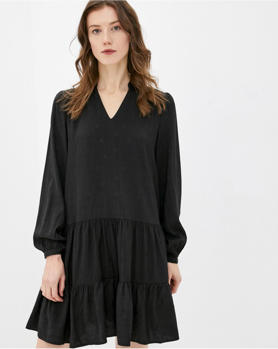Платье с V-образным вырезом с воланом с длинным рукавом