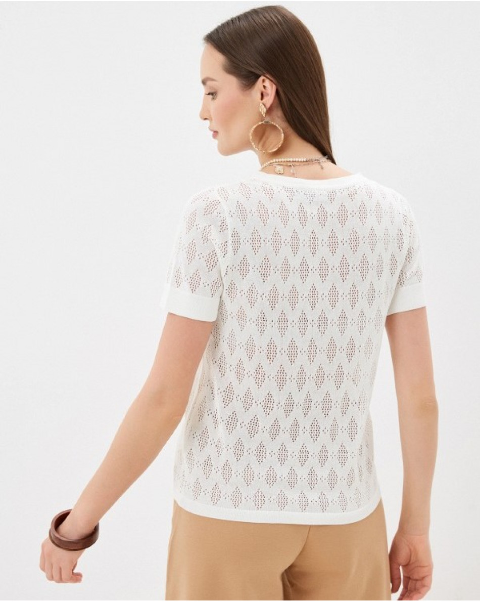 Трикотажная футболка ажурной вязки