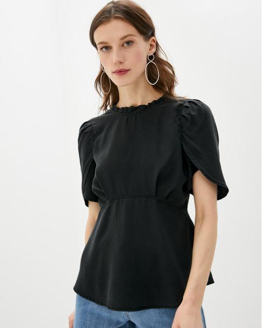 Блуза с коротким рукавом с рюшей по вороту