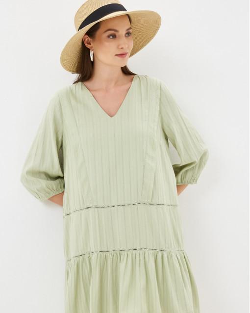Платье-мини с рюшей и воланом
