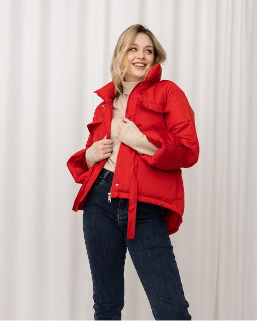 Куртка демисезонная с карманами и кулиской на талии
