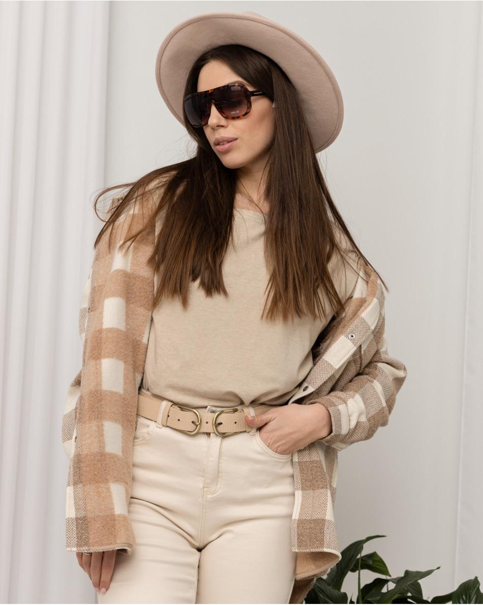 Куртка рубашечного кроя в клетку с карманом на груди