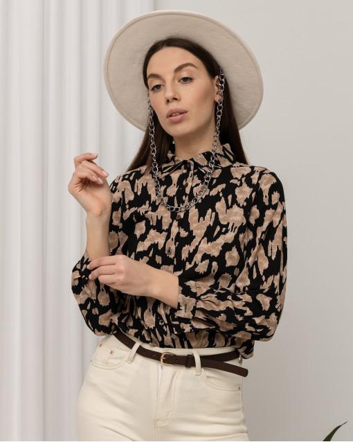 Рубашка контрастного черного и бежевого цвета