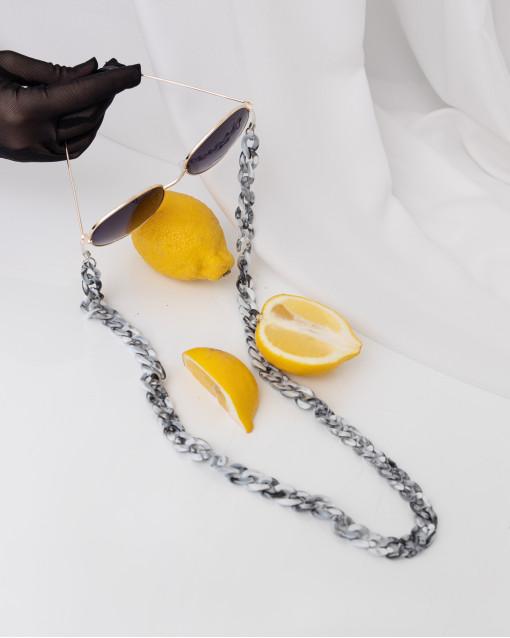 Цепь для очков плотные звенья серого и белого оттенка