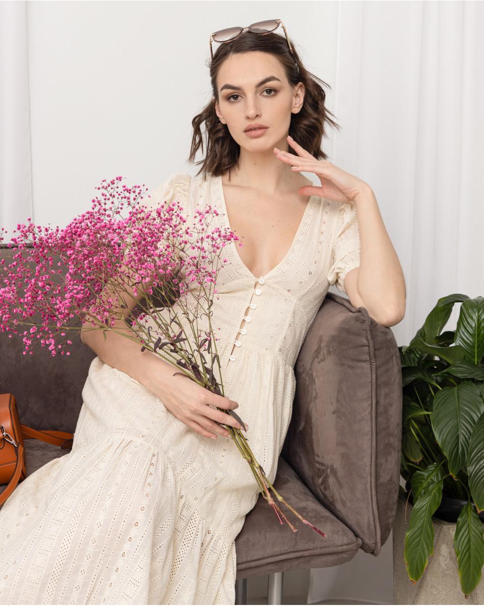 Платье-миди из шитья на пуговицах с V-образным вырезом