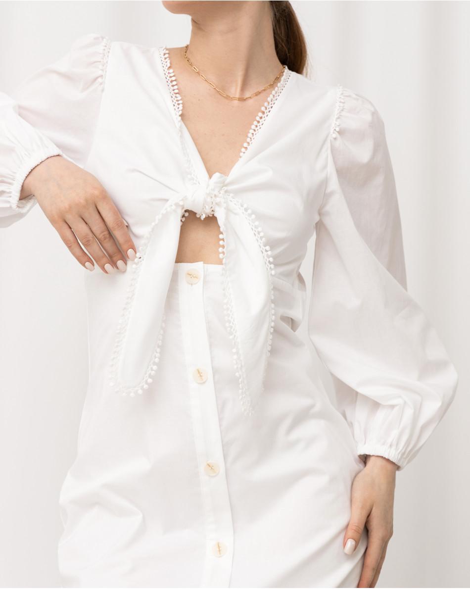 Платье-миди с завязками на груди на пуговицах