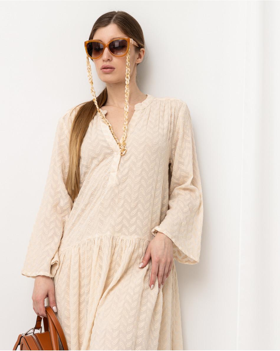 Платье свободного кроя с V-образным вырезом с набивным рисунком