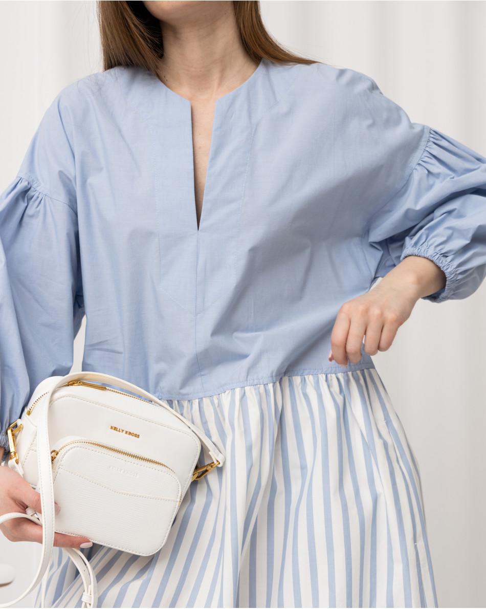 Платье свободного кроя в контрастной ткани