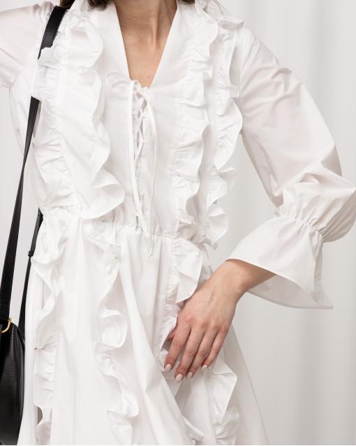 Платье-мини с рюшами
