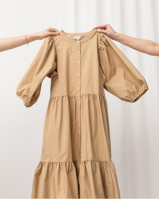 Платье-миди с воланами на пуговицах спереди