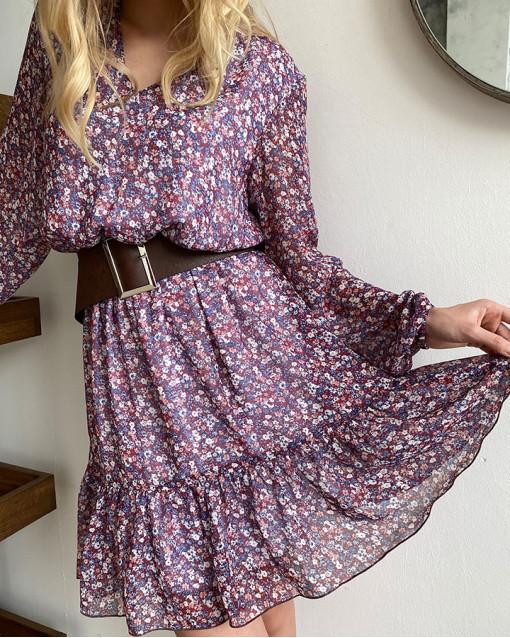 """Платье-мини """"цветы на ягодном"""""""