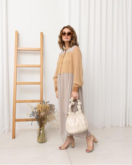 Платье-миди двухцветное с пуговицами спереди