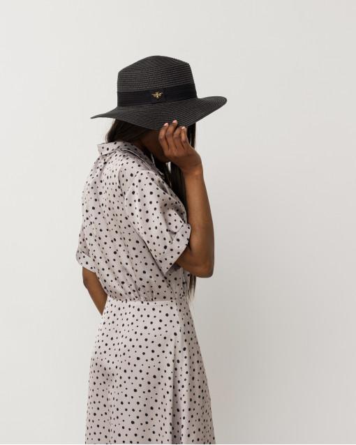 Шляпа плетная с черной лентой