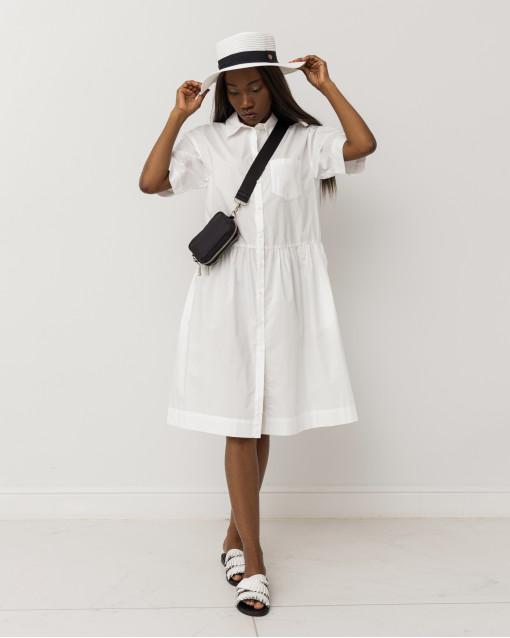 Платье рубашечного кроя с резинкой на талии