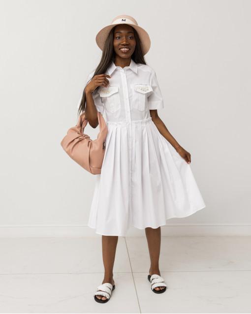 Платье с коротким рукавом с бисером на нагрудных карманах
