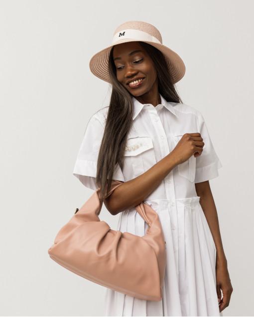 Шляпа плетеная розового оттенка