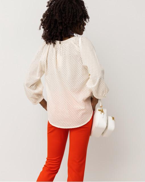 Блуза свободного кроя с набивным рисунком