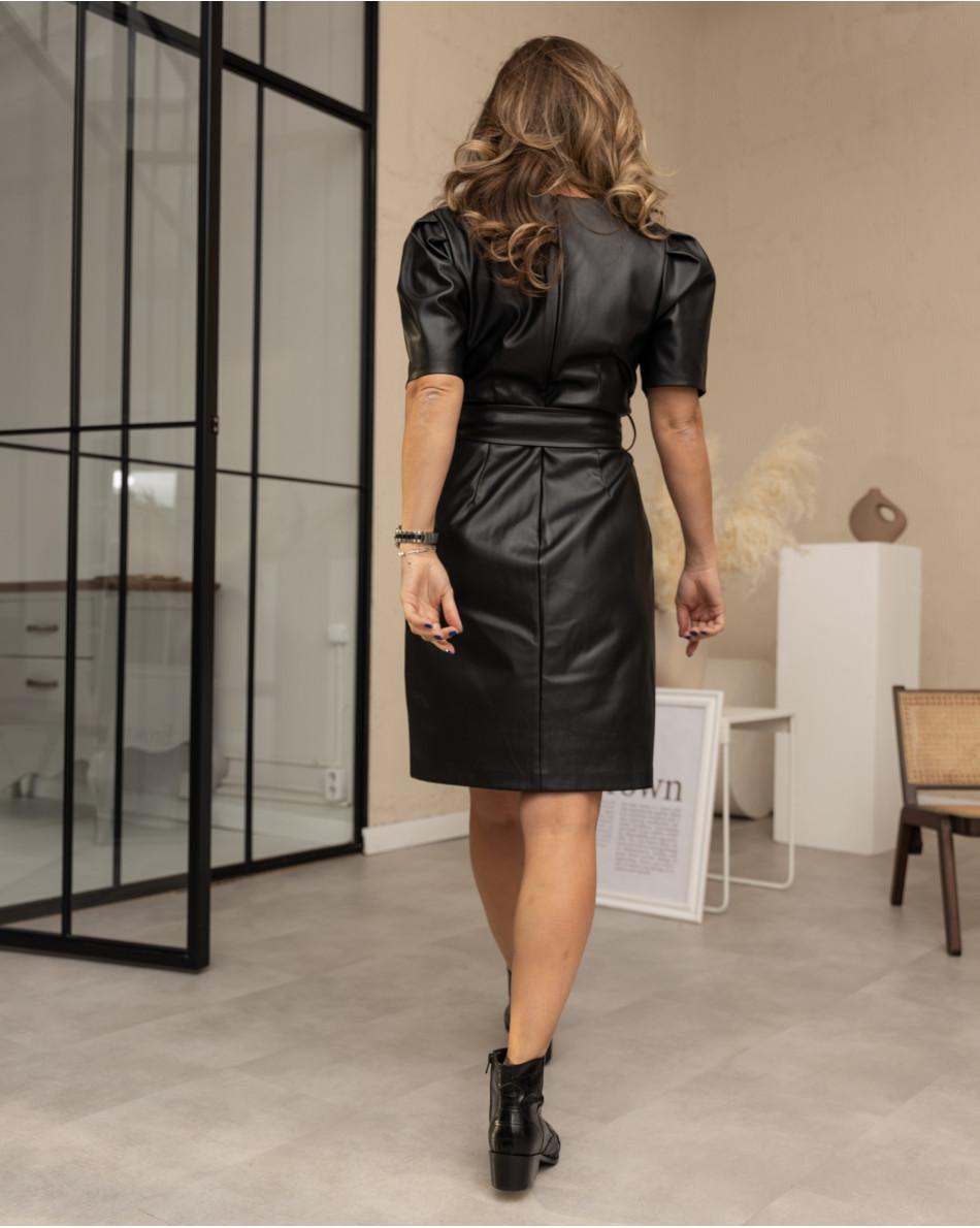 Платье-мини из экокожи