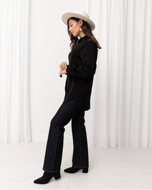 Блуза с рукавом-фонариком и вставками из шифона