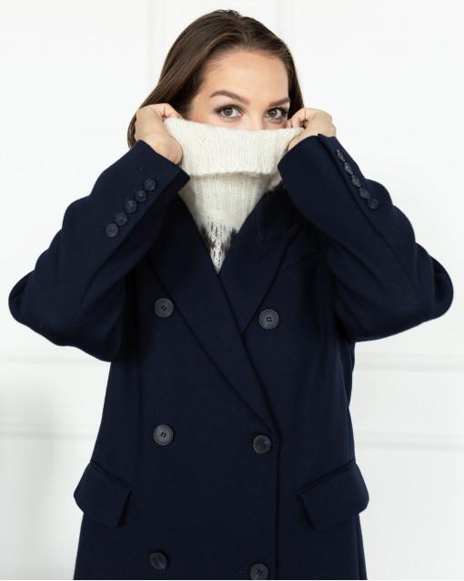 Пальто двубортное с отложным воротником и вставками из страз по линии плеча