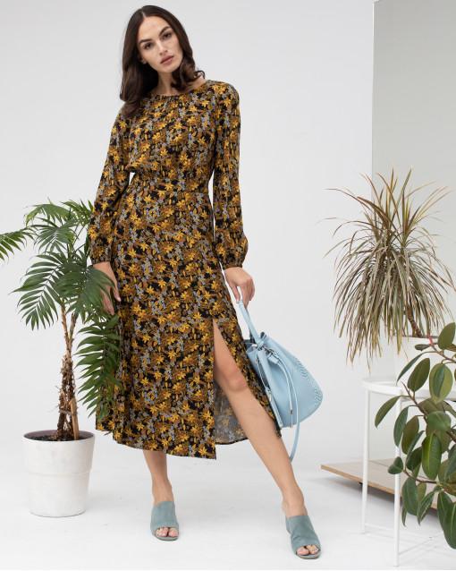 Платье-миди с разрезом в цветочный рисунок