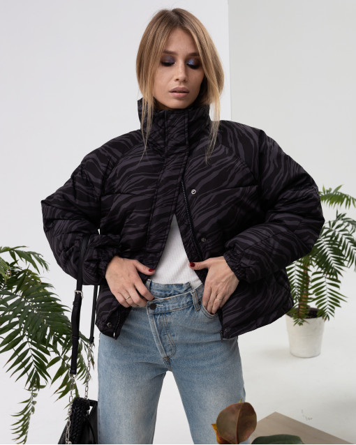 Куртка утепленная с рисунком на ткани
