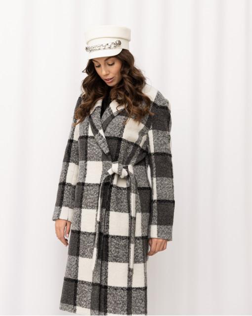Пальто на запахе в крупную клетку с поясом