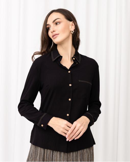 Блуза рубашечного кроя с контрастной отстрочкой на кармане