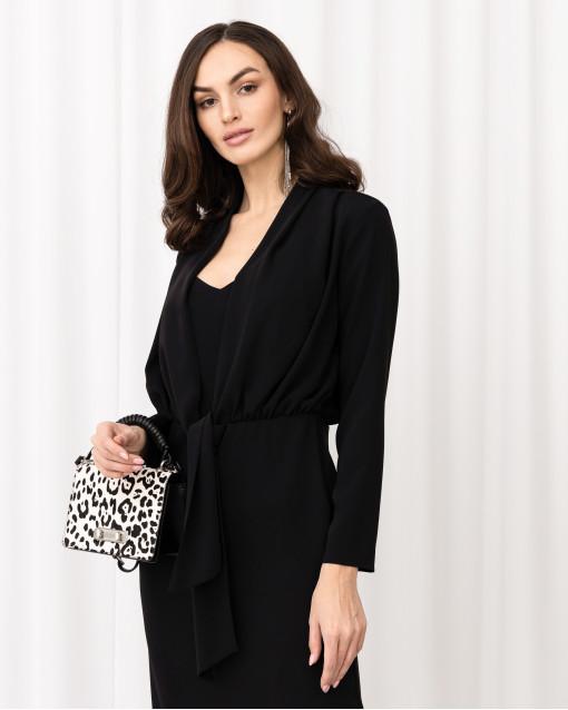 Платье-футляр с напуском на завязках