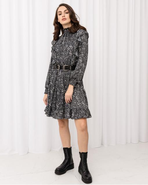 Платье с воланами приталенное