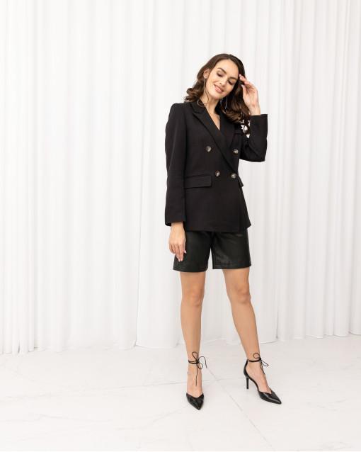 Жакет двубортный с накладными карманами