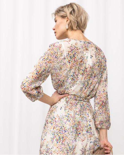 Платье с V-вырезом в цветок на поясе