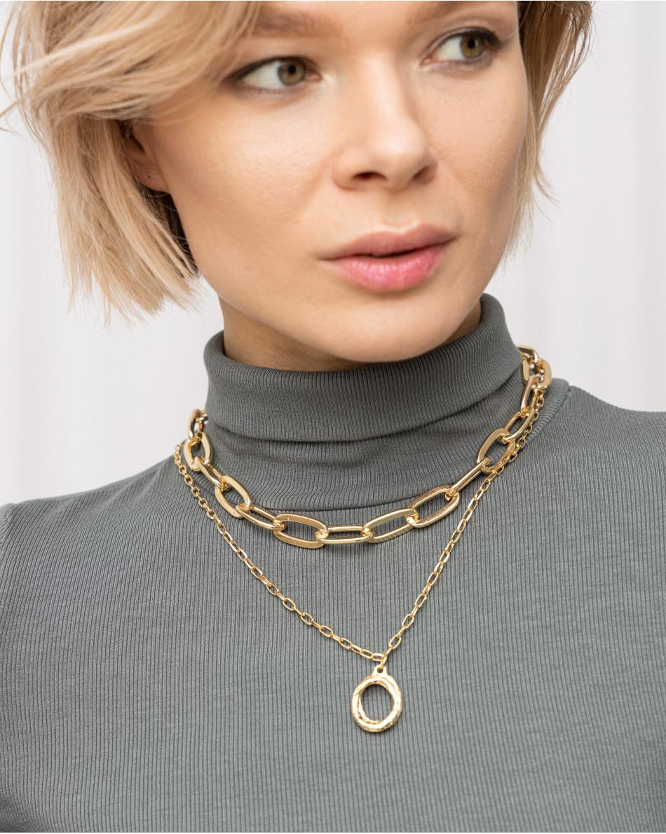 Цепь двойная крупными кольцами с подвеской-кольцо в золотом цвете металла