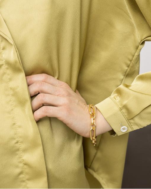 Браслет крупными звеньями в золотом цвете металла