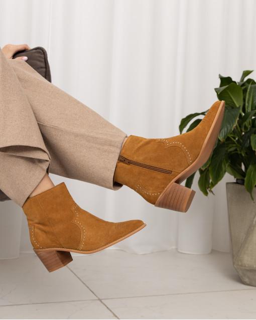 Полуботинки-казаки демисезонные на устойчивом каблуке из натуральной замши