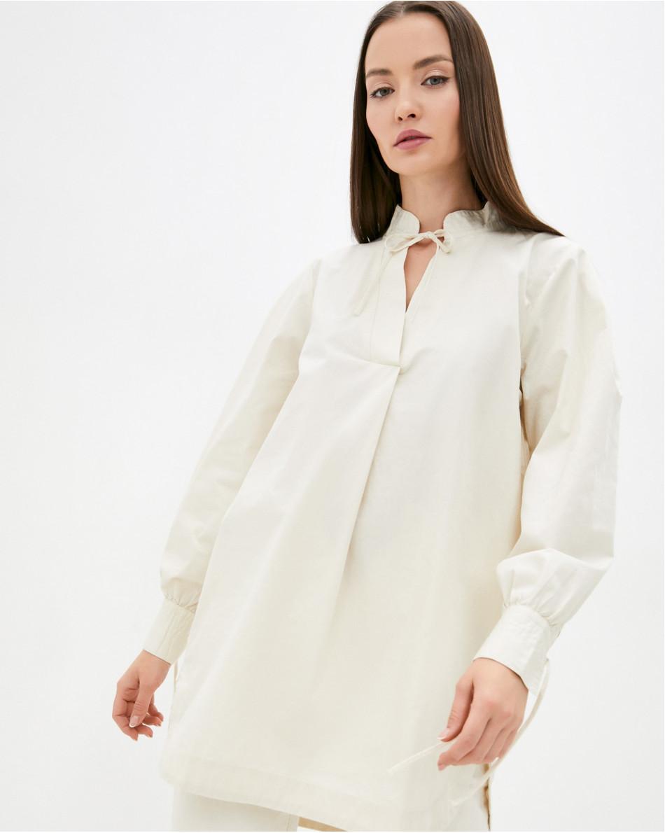 Рубашка удлиненная с воротником-стойкой и завязками