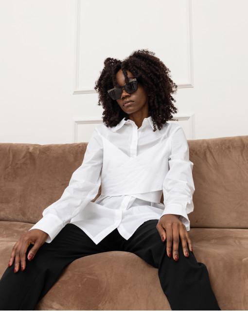 Блуза удлиненная с завязками на поясе